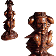 19th Century Whimsy Figural Candle Holder Hand Carving Black Forest
