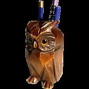 Pen Holder Desk Servant Owl Shape Hand Carved