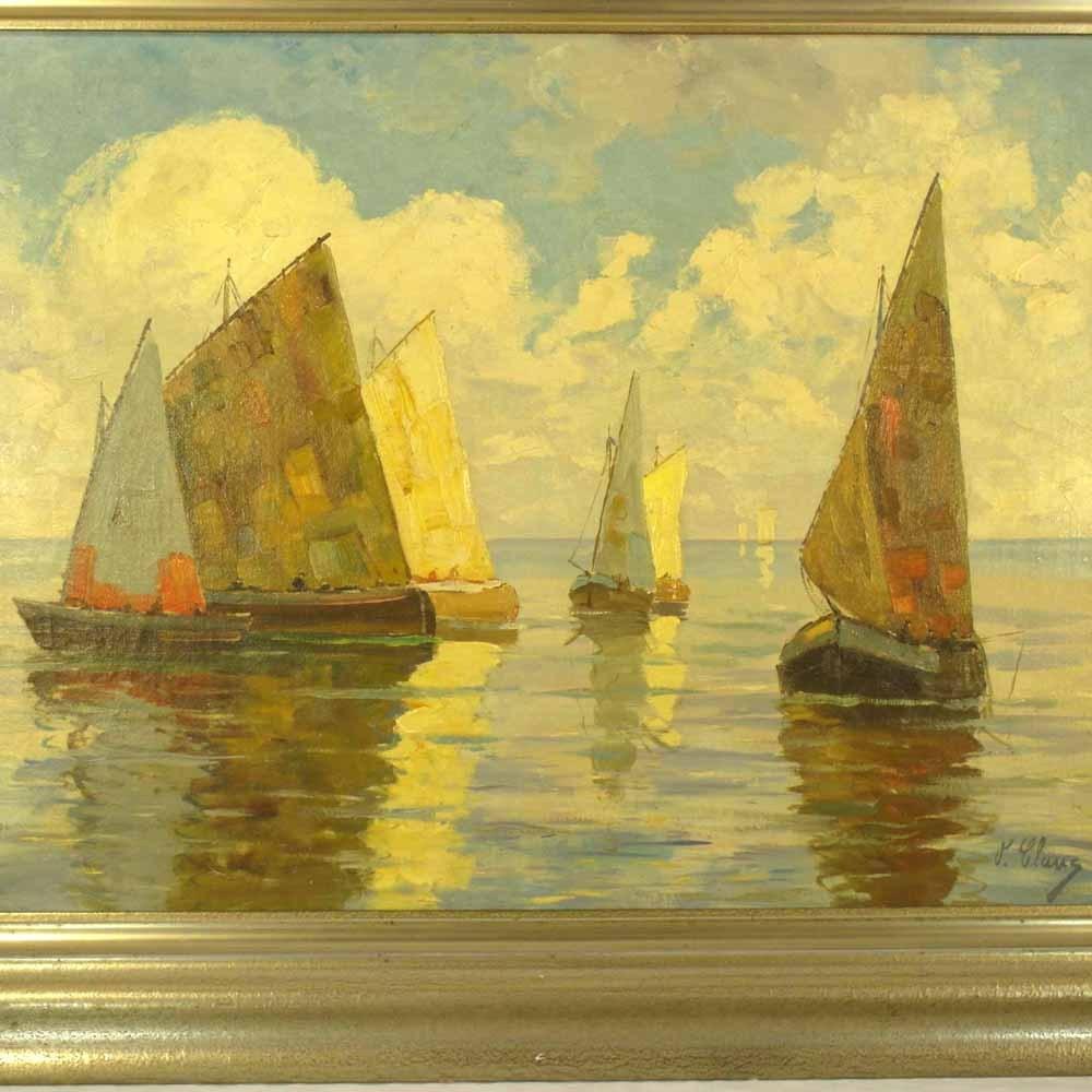Marine Landscape Oil Painting Artist Signed
