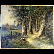 19th Century Wooden Land Landscape Barbizon School Artist Signed