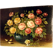 Amazing Roses Bouquet – Hand Painted Still Life ca. 1920