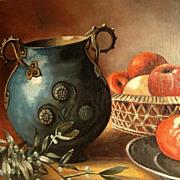 Still Life with Mistletoe, Vase and Apples 19th Century