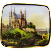 Victorian Hand Painted Scene Brooch Gold Porcelain Fine