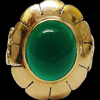 SALE Beautiful 14K Gold Chrysoprase Ring Fine Vintage
