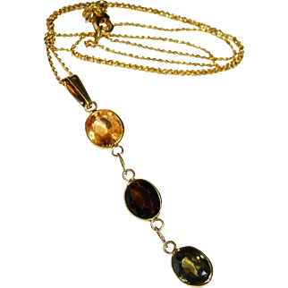 SALE Handsome Gemstone 14K Gold Necklace Fine