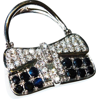SALE Stunning Diamond Sapphire 18K White Gold Purse Pendant Fine
