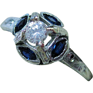 SALE 20K Gold Diamond Sapphire Ring Art Deco Fine
