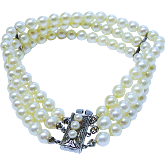 SALE Gorgeous Cultured Pearl 3 Strand Bracelet Sterling Silver Chased Clasp Fine Vintage
