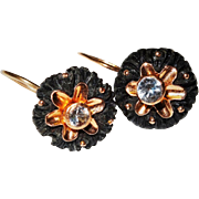 Antique Carved Bog Oak Spinel Gold Earrings Flower Fine
