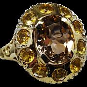 Fabulous Topaz Citrine Gold Cluster Ring Fine