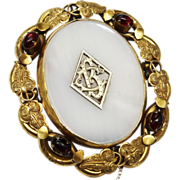 Huge Victorian Swivel Brooch Chalcedony Garnet Ornate Fine