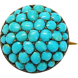 SALE Victorian Turquoise Pave Silver Gilt Pin Button Pin