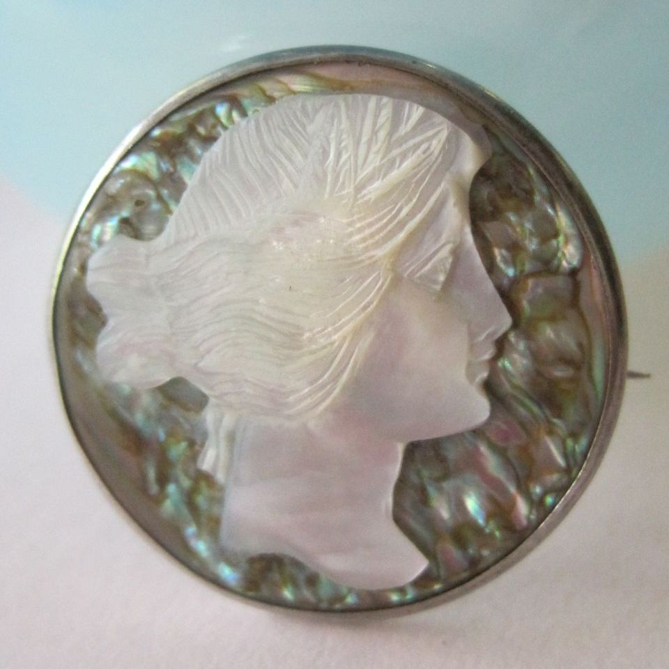 Vintage Sterling Mother of Pearl Cameo Brooch Abalone
