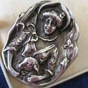 Sterling Little Bo Peep Figural brooch High Relief