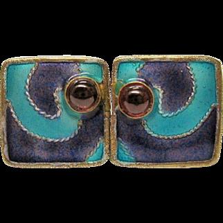 SALE Vintage Chinese Enamel Garnet Silver Gilt Post Earrings