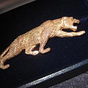 Fine 14K Yellow Gold Jaguar Brooch Figural