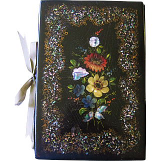 SALE Victorian Papier Mache Blotter Hand Painted Mother of Pearl