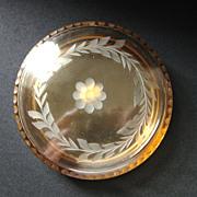 Vintage Fostoria Amber Glass Covered Puff Box