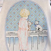 Vintage Hand Embroidered & Colored Baby Crib Coverlet & Pillow Cover