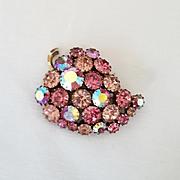 Vintage Signed Karu Arke Pink Rhinestone Grape Cluster Brooch