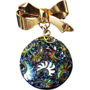 Vintage Carnival Glass Bow Dangle Brooch