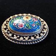 Vintage Hand Painted Porcelain Brooch or Pendant