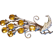 Vintage Signed Sterling Silver & Rhinestone Fanciful Peacock Brooch