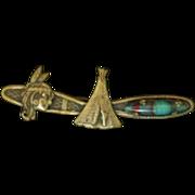 Vintage Native American Theme Brooch