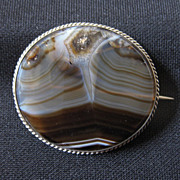 Victorian Picture Agate & Silver Oval Brooch