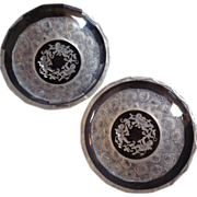 Vintage Pair Reverse Carved Cut Crystal Bowls
