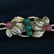 Antique Victorian Rolled Gold, Jade & Carnelian Leaf Brooch