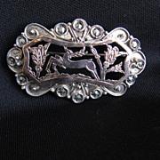 Antique Rose Gold & Sterling Silver Brooch