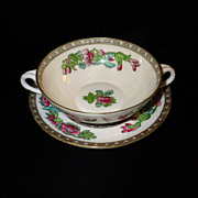 "Vintage Coalport  ""Indian Tree"" Cream Soup & Saucer Set"