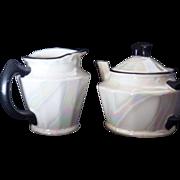 """Vintage Signed """"Czechoslovakia"""" Lustre Porcelain Teapot & Pitcher"""