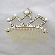 Vintage Signed Faux Pearl & Rhinestone Tiara Hair Comb