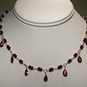 Sterling Silver Garnet Necklace with Pear Drops