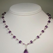 African Amethyst Single Drop Sterling Silver Necklace