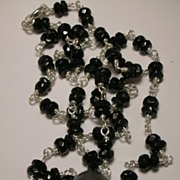 Cultured Black Freshwater Pearl and Black Tourmaline Sterling Silver Necklace