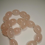 Rose Quartz Barrel Sterling Silver Necklace