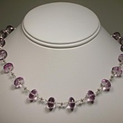Pink Amethyst Roundel Sterling Silver Necklace