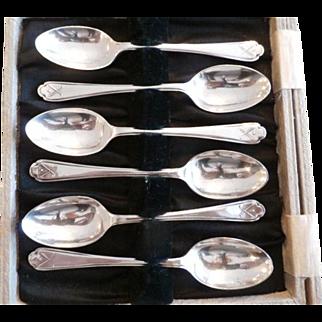 Set of 6 Sterling Silver Demitasse Spoons w/ Golfing Motif