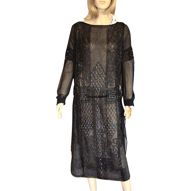 Black Silk Chiffon Crepe Beaded 1920's Flapper Dress