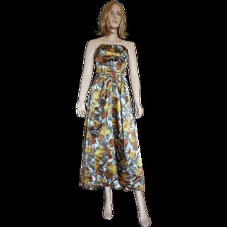 Silk Taffeta Floral Strapless Dress- 1950's Mary Carter Orig. By Will Steinman