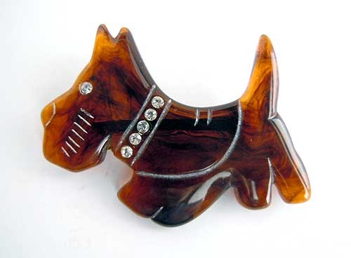 Brown Carved Scotty Dog Pin