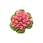 Vintage Pink Lilies on Green Lily Pad Enamel Brooch Pin