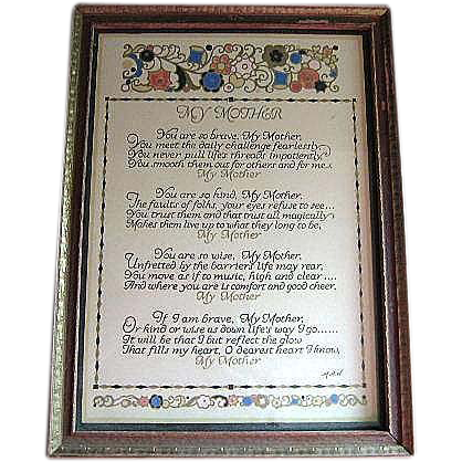 """Vintage """"Mother"""" Motto in Period Frame  Artist Sgnd MAH"""