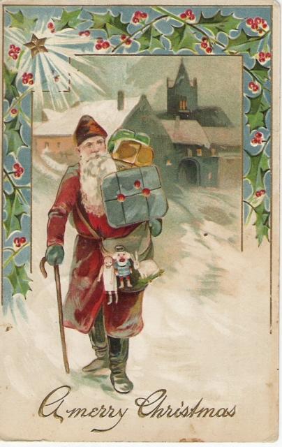 German Belsnickle Santa Delivering Toys on Foot