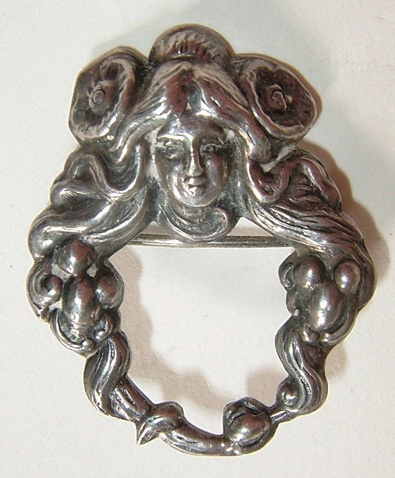 Sterling Art Nouveau Lovely Lady Brooch  925 circa 1905
