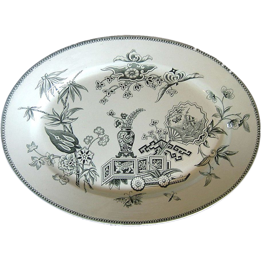 Aesthetic Movement Parisian Granite large Turkey Platter