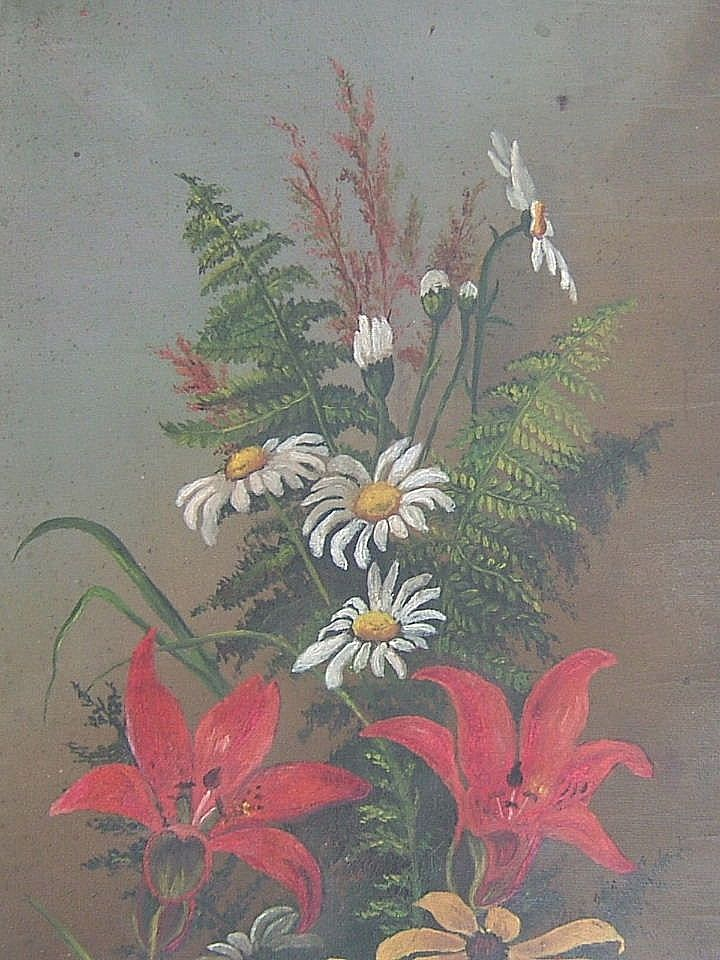 Oil on Canvas  Mixed Bouquet Flowers & Ferns